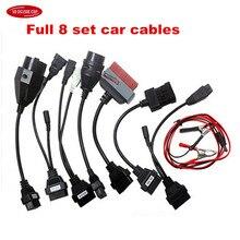 Автомобильные кабели OBD OBD2, полный комплект, 8 автомобильных кабелей для delphis, запчасти для автомобиля, кабель сканера CaBD II