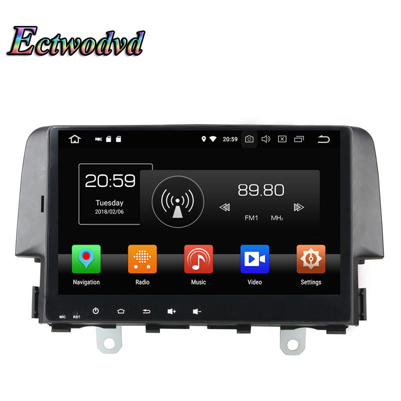 Ectwodvd Octa Core 4G Android 8.0Quad Core Android 8.1 Car Multimedia DVD Player for Honda Civic 2016 2017 2018-