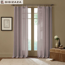 Mile grey voile tulle window princess curtains white sheers for livingroom drape transparent process green custom size for door(China)