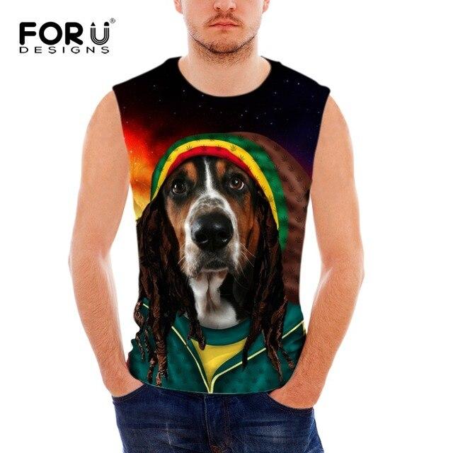50dc2d160869 FORUDESIGNS Men Clothing Tank Tops Fitness Men Cosplay Bob Marley Dog  Pattern Vests Tank Tops Mens