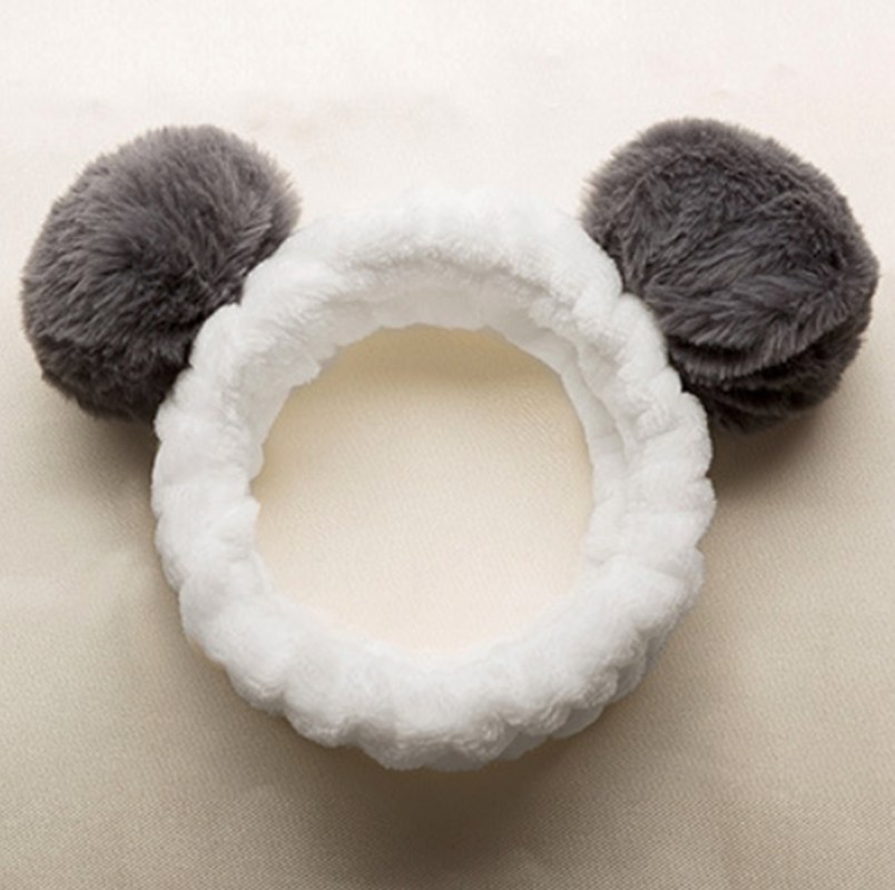 Cute Panda Ear Soft Carol Fleece Women Headband Makeup Shower Head Wrap Hair Band for Washing Face Shower Spa Mask
