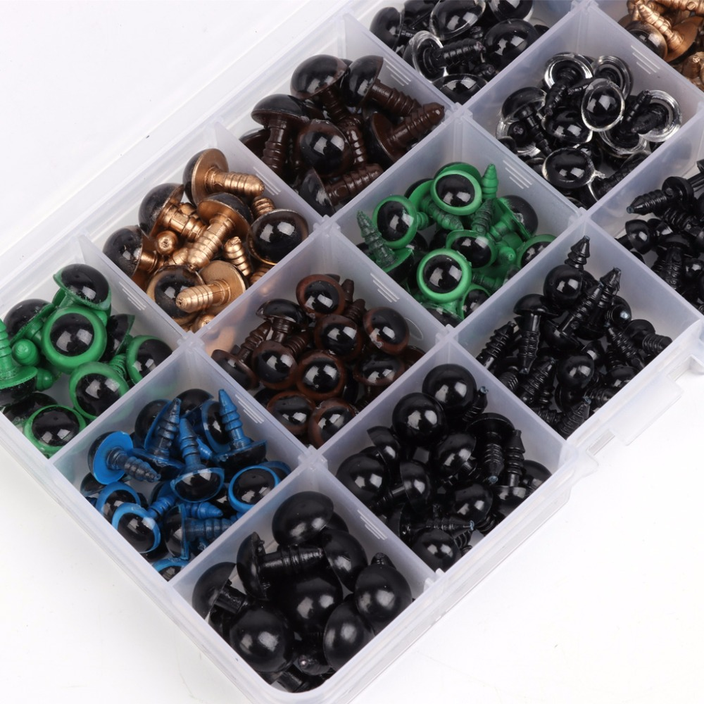 264pcs 6-12mm Safety Eyes Teddy Bear Doll Animal Felting Toy Craft Black Colorful Dolls Accessories 100set box 10mm 12mm plastic craft toy doll eyes safety eyes handmade accessories children diy creative toys dolls accessories