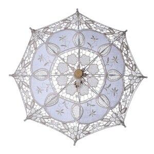 Image 2 - מכירה לוהטת לבן בעבודת יד רקום תחרת השמשייה שמש מטריית כלה חתונת מסיבת יום הולדת קישוט חתונת דקור BU99037