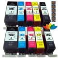 10 stücke Kompatibel Chipped Tintenpatronen für Canon pgi520 cli521 MP620 MP630 MP640 MP540 MP550 MP560 IP3600 IP4600 IP4700 Printe-in Tintenpatronen aus Computer und Büro bei