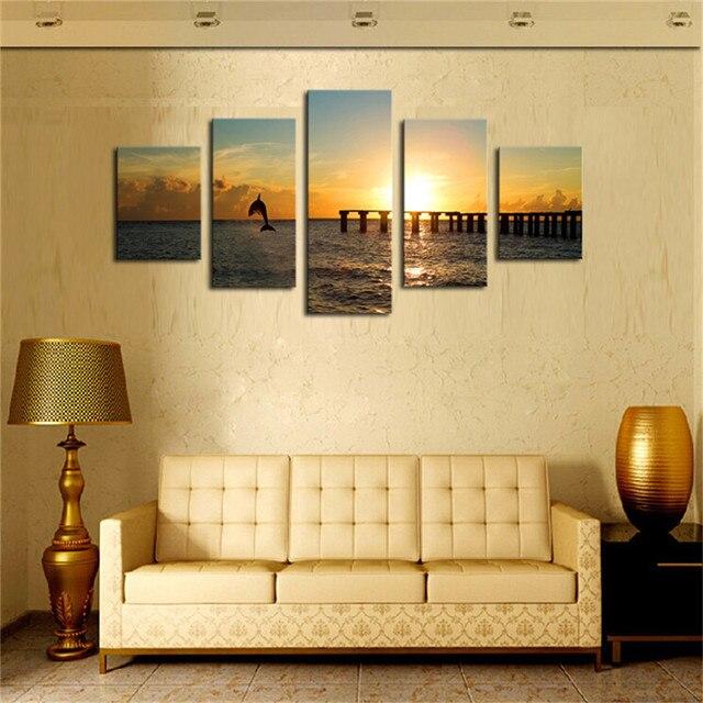 Hot Sale 5pcs Unframed Art Canvas Prints Seascape Bridge under ...