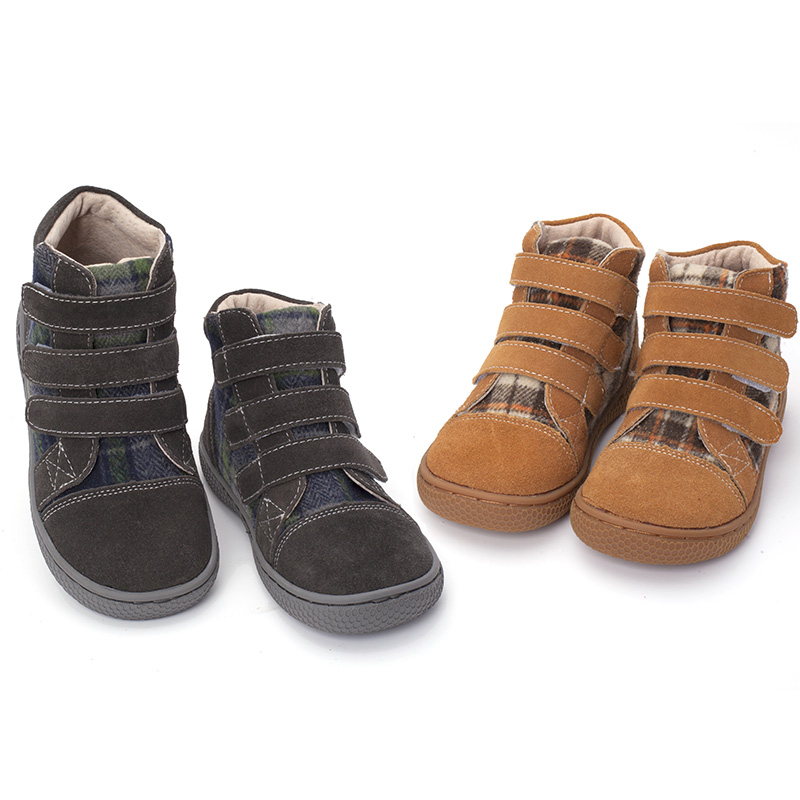 Image 2 - PEKNY BOSA Brand kid plaid ankle boots children Genuine Leather barefoot shoes spring autumn high top toddler girl and boy shoes-in Boots from Mother & Kids