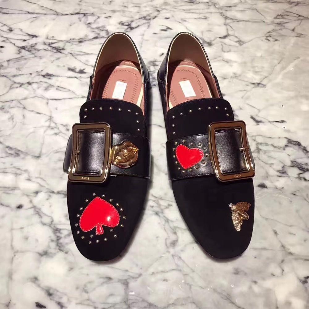 Marée Chaussures De Seude Confortable Peu Boucle Métal As Appartements Sapato Rivets Mules Femmes Casual Dames Pic Feminino Marque as Nouvelle Mujer Profonde Zapatos qE0Iw