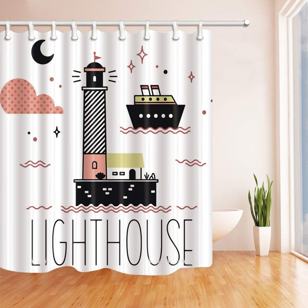 Cartoon Lighthouse And Ship For Kids Bath Curtain Polyester Fabric Waterproof Shower Curtains Hooks Black