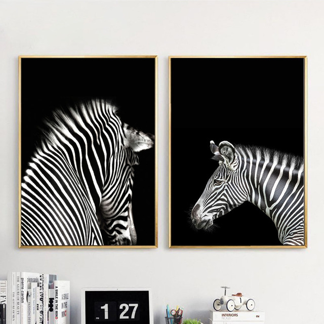 Black White Animal Zebra Wall Art Canvas Posters And Prints Minimalist  Abstract Painting Wall Picture For