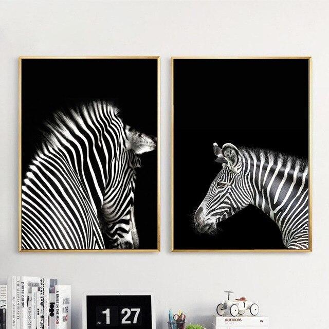 Hitam Putih Zebra Hewan Wall Art Kanvas Poster Dan Cetakan Minimalis