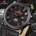 Top Luxury Brand NAVIFORCE Moda Hombres Relojes de Cuarzo Analógico 3D Cara de Cuero Reloj Hombre Relojes Deportivos Militar Del Ejército reloj de Pulsera