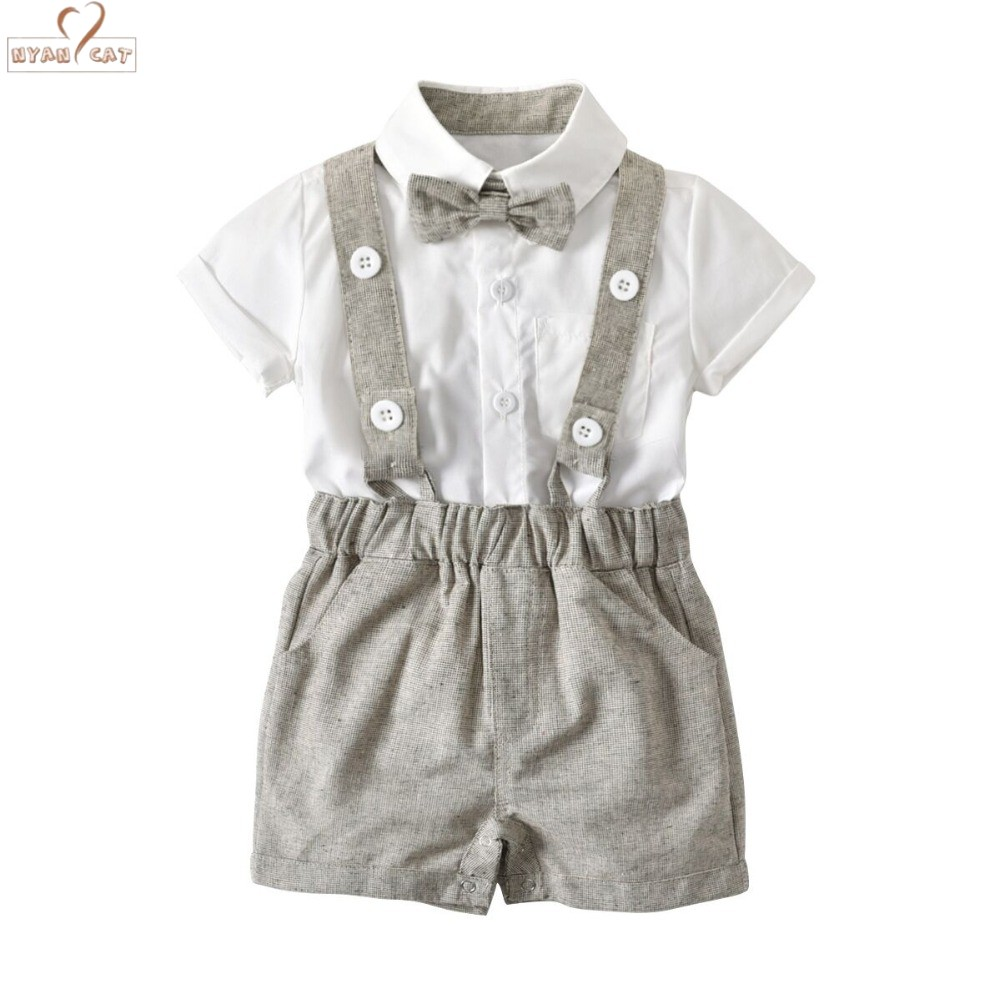 DHL EMS Free shipping Infants Baby boys Kids gentleman Suspender Bow tie 2pc Suit Summer Clothing