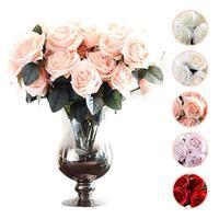 10 Heads Artificial Rose Flowers Wedding Bouquet Silk Flowers Bridal Bouquet Fall Vivid Fake Flowers For Wedding Home Decoration