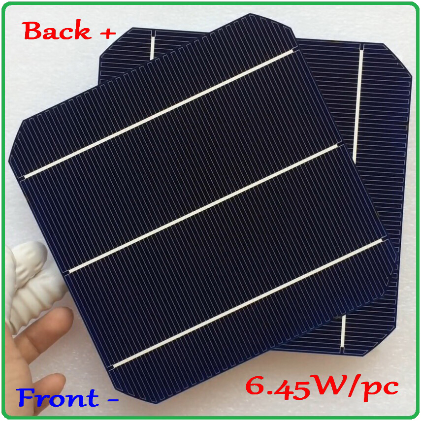 6.45W/pc Mono Solar Cell Newest Double-side 156mm Monocrystalline Mono Silicon Solar Cell New High Efficiency Grade A