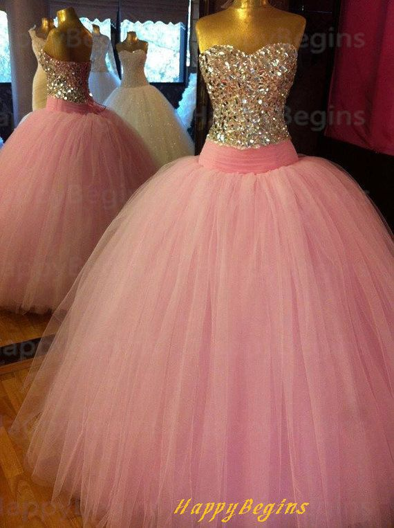 2017 Sparkle Vintage Pink Puffy Ball Gown Beaded Bodice Tulle Prom ...