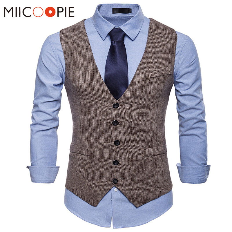 Suit Vest Wedding Waistcoat Formal-Dress Herringbone Sleeveless Fashion Jacket Colete