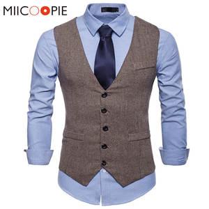 Suit Vest Colete Gilet Formal-Dress Sleeveless Jacket Waistcoat Men Fashion Wedding Fitness