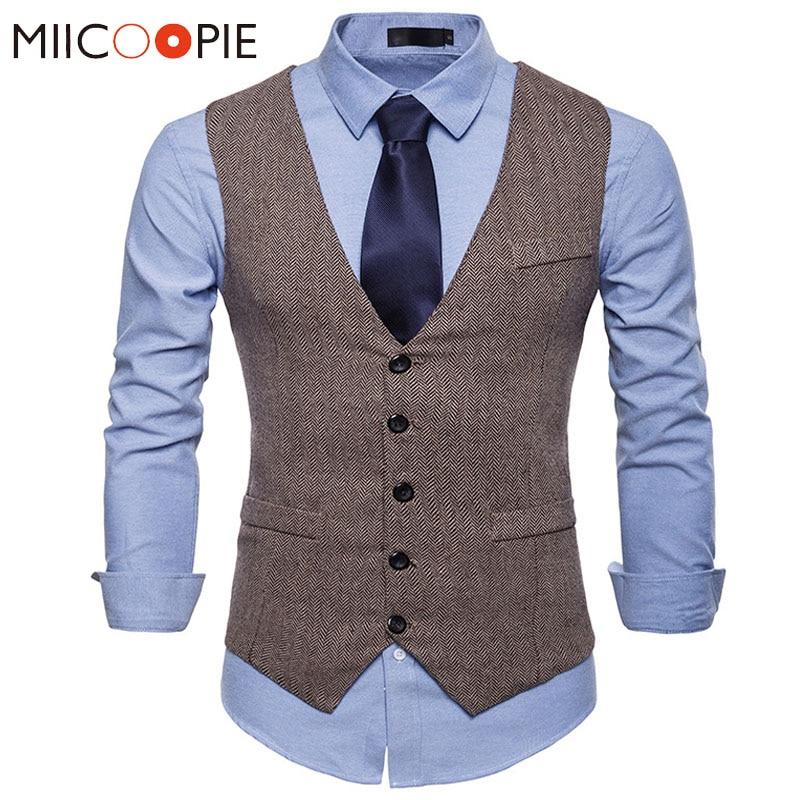 Alion Men Solid Color Slim Sleeveless Vest Suit Dark Grey XL