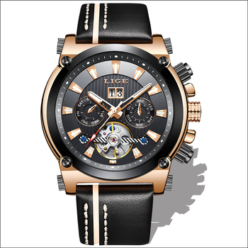 2020 LIGE Men Watch Fashion Automatic Mechanical Tourbillon Leather Luxury Brand Sport Waterproof Watches Mens Relogio Masculino