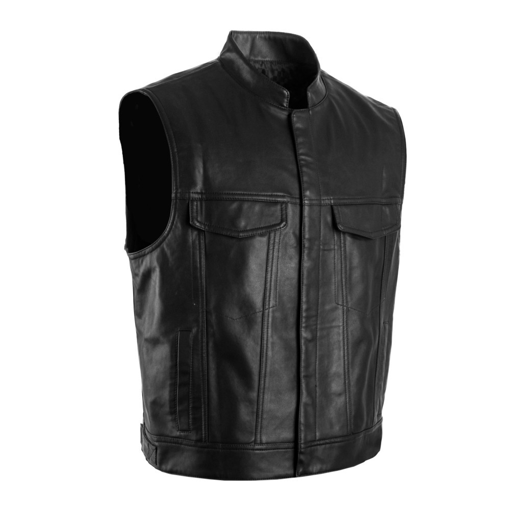 2017 New Son of Anarchy Motorcycle Club PU Leather Stand-up Collar Punk Vest Pure Black Mens Rock Waistcoat