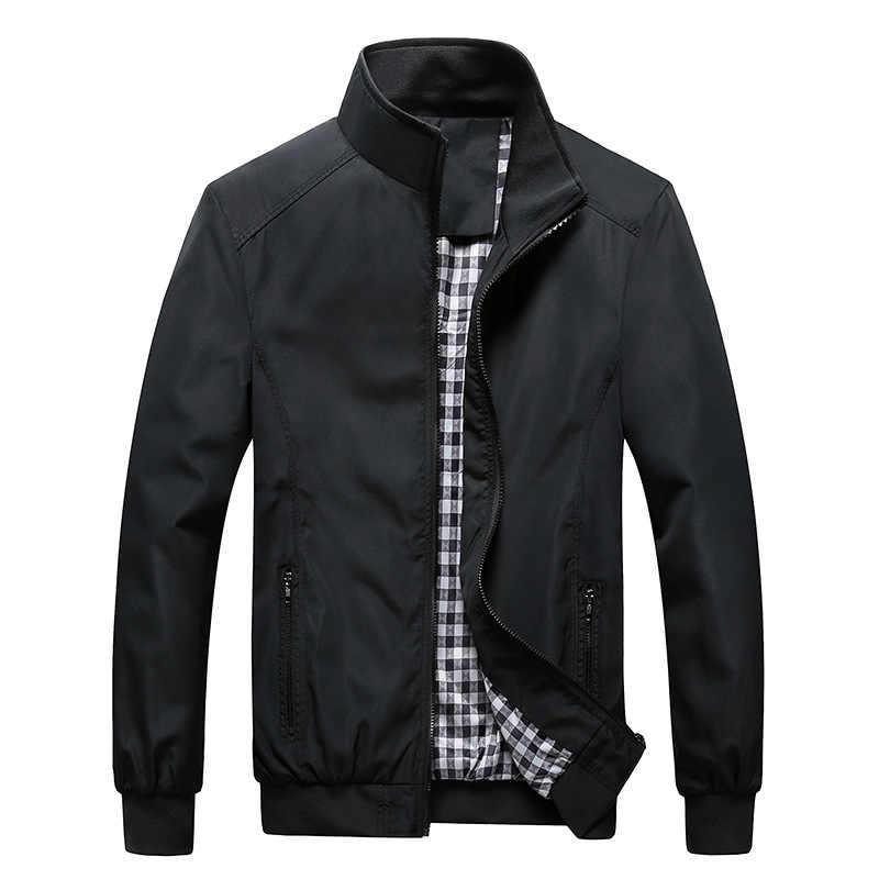 Качественная куртка-бомбер, однотонная повседневная мужская куртка, верхняя одежда на весну и осень, мандарин, Спортивная мужская куртка, мужские пальто, M-5XL, 6XL, 7XL