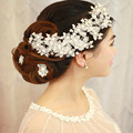 Handmade Headdress with Pearls Wedding Accessories Flower Bride Pearl Lace Hair Dinner Party for Women H004
