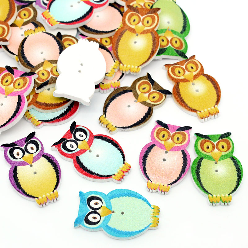 Sewing Accessories 50PCs Wood Buttons Sewing Scrapbooking Owls Mixed  3.2cmx2cm(1 2 8x 6 8) Clothes Accessories 42c3cd71d9f8