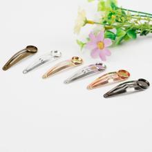 Металлическая заколка для волос, основа заколки для волос Кабошоны, принадлежности для поделок, 10 шт./лот, 12 мм