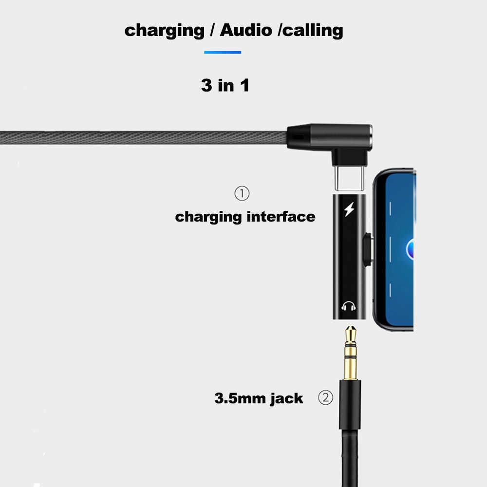 2 في 1 نوع C إلى 3.5 مللي متر جاك سماعة شحن محول USB نوع-C محول الصوت ل شاومي 6 هواوي P10 ماتي 20 نوع C الهواتف