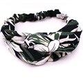 Verde tecido de algodão com flor de lírio do vintage boêmio impressão cruz turbante headband do elástico acessórios para o cabelo