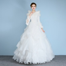 Ball Gown Wedding Dresses Robe De Mariee Feather Bridal Gowns New Pleat Wedding Gown White Ivory Fast Shipping