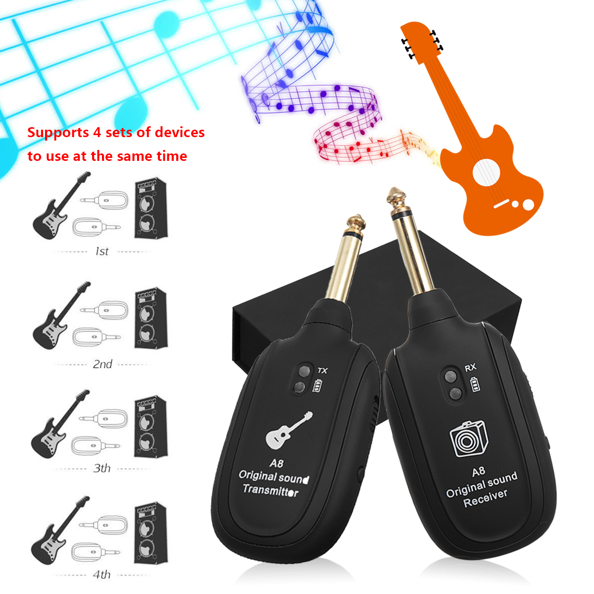 High Quality Rechargeable Uhf Digital Audio Wireless Electric Modify Acoustic Into The Guitar On Fm Transmitter Receiver System For Violin Instrument Anti Jamming Black Plastic