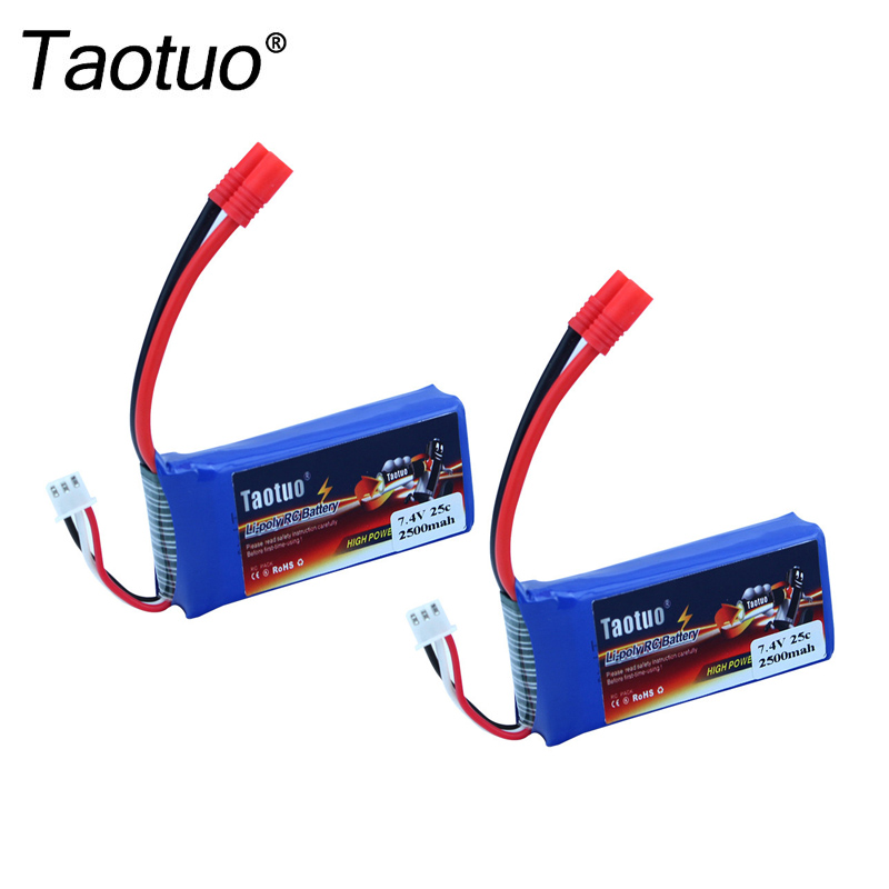 2pcs Taotuo Lipo Battery 7.4v 2500mah 25C For Syma X8C/X8W/X8G RC Helicopter Airplane Parts Boat HQ899 Drone Bateria vho power syma x8w rc drone lipo battery 5pcs 2s 7 4v 2500mah and eu charger for syma x8c x8w x8g x8hg rc helicopter spare parts