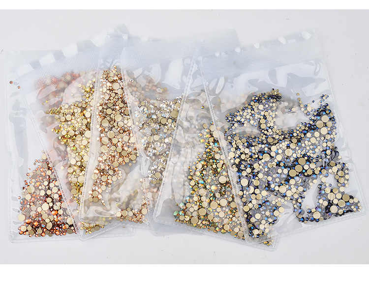1/Pack oro Flatback vidrio AB de diamantes de imitación mixtos tamaños manicura decoración piedras brillantes gemas manicura accesorios 073