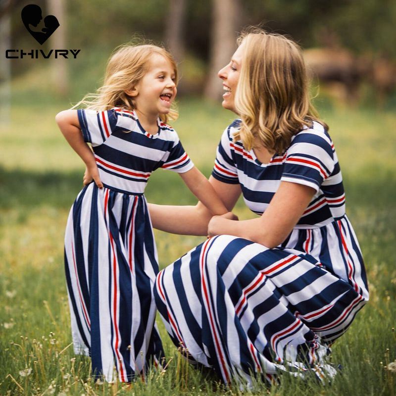 Chivry New Mother Daughter Dresses Short Sleeve Striped Long Maxi Dress Mom And Daughter Dress Family Matching Outfits Clothes
