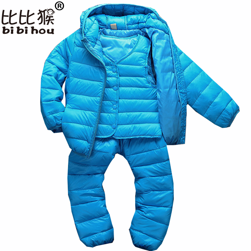 Bibihou 2017 3PCS Winter Kids Clothing Sets Warm Duck Down Jackets Clothing Sets Baby Girls Baby Boys Down Coats Set With Pants girls clothing down