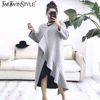 TWOTWINSTYLE Ruffles Woolen Midi Dress Women Autumn 2017 Long Slzeeve Big Size Loose Black Dresses Casual