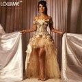 Daq3467 2016 Champagne princesa High Low renda flor vestidos Quinceanera Masquerade vestido para 15 anos Quinceanera vestido