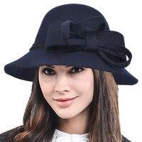 Lady Wool Felt Fedoras Hat Female Winter Elegant Bow knot Bucket Hat Women Church Dress Wedding Party Cloche Hats HISSHE