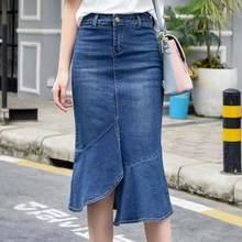 214881daf3 2018 primavera moda mujer falda de cintura alta Ruffles Silm paquete hip  rodilla-longitud azul Denim Falda siren.