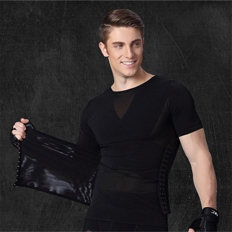 Hot Shapers For Men Waist Trainers Excellent Body Shaper T Shirt Tummy Trimmer Stomach Fat Burn Reducer Shapewear Black White