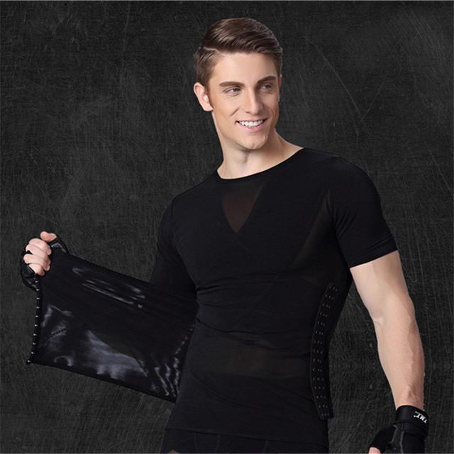 Shapers quentes Para Homens Formadores de Cintura Shaper Excelente Do Corpo Camiseta Redutor Tummy Trimmer Estômago Queima de Gordura Shapewear Preto Branco