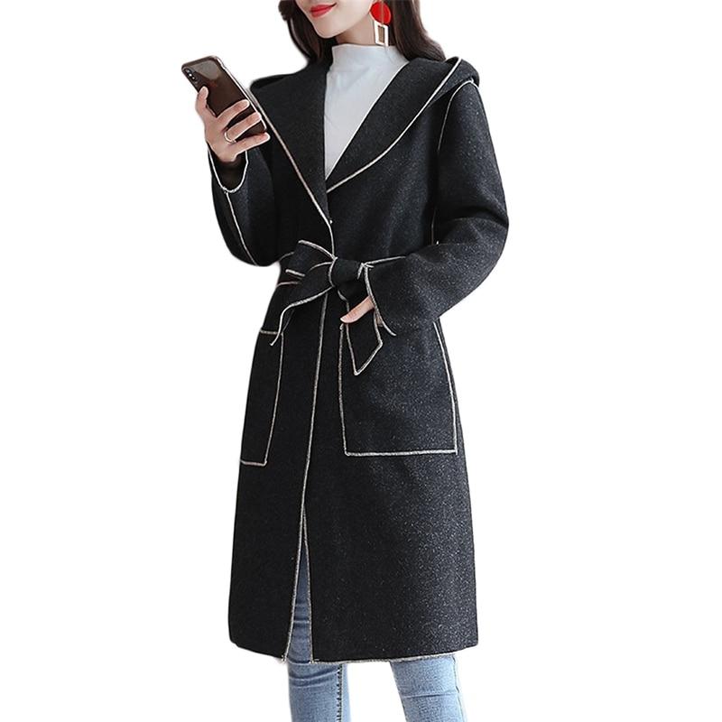 Hiver Haute Pardessus Populaire B1012 Femmes Nouvelles Long Double Laine Manteau De Coréenne À Automne Black khaki Capuche face Qualité R0ZPXwq