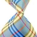 Nueva marca azul y amarillo a rayas de seda de la cruz hombre forman a ocio oficial vendedores calientes negocios de trabajo de la boda empate Gravata