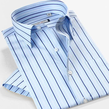 Smartfive Brand Clothing Mens Shirt 100% Cotton Short Sleeve Casual Shirts Striped Camisa Masculina New 2016 Summer