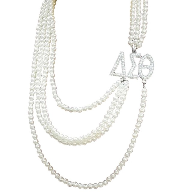 74ebe54c3528 Hermandad Multilayer largo perla Delta Sigma Theta letras colgante joyería DST  collar