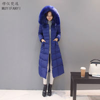 2017 Winter Jacket Women Large Fur Collar Middle Aged Down Cotton Long Jacket High Quality Thick