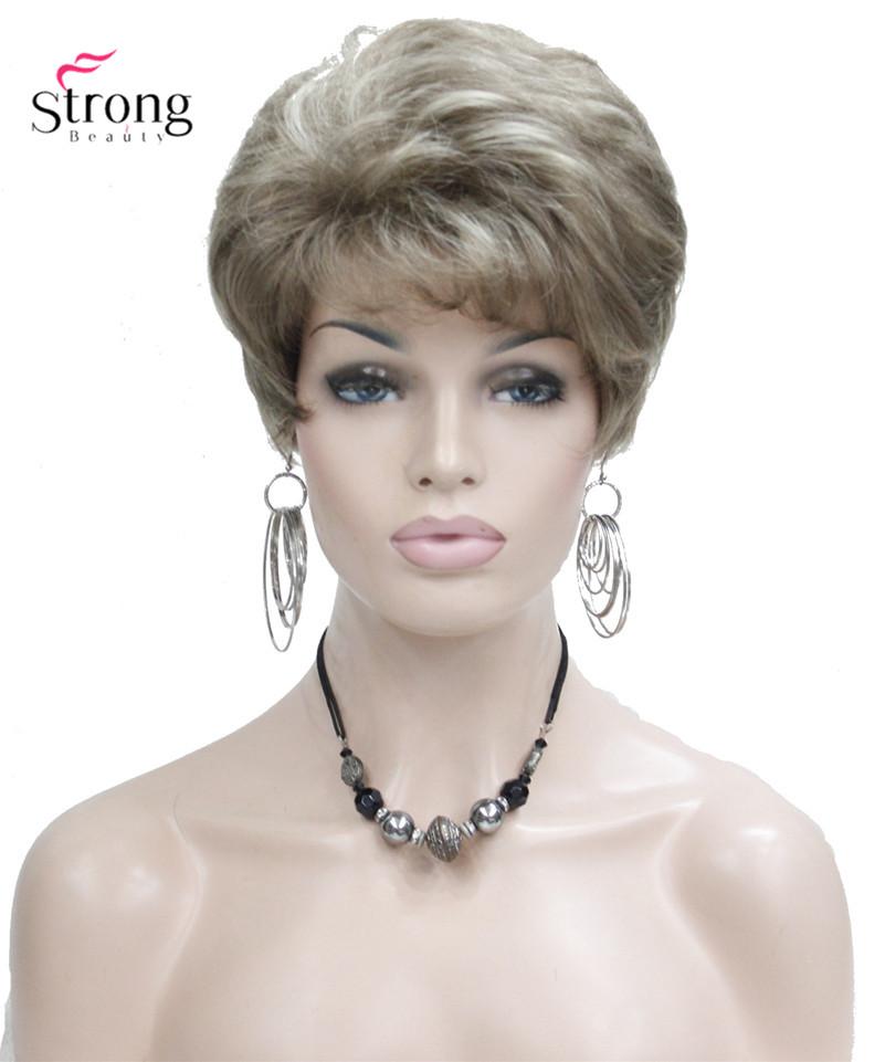 леди женщины короткая волна syntheic волосы парик блондинка с подчеркивает полный парики цвет выбрать