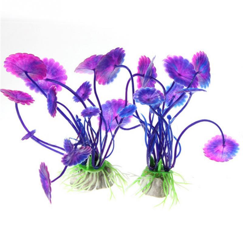 Fantastic Purple Artificial Vivid Plastic Aquarium Decorations Plants Fish Tank Grass Flower Ornament Decor Aquatic Accessories