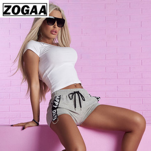 ZOGGA Solid Breathable Gym Shorts with Belt Letter Printed Mid Waist Women Causal Shorts Cotton Polyester Short Women
